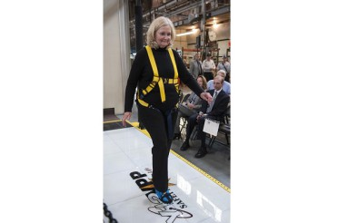 Deputy NNSA Administrator walks on Slip Simulator™ at Y-12